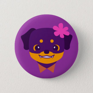 Badge Rond 5 Cm Chiot pourpre de rottweiler de Kawaii