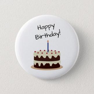 Badge Rond 5 Cm Chocolat de joyeux anniversaire et gâteau de