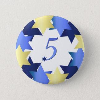 Badge Rond 5 Cm Cinquième jour de bouton de Hanoukka
