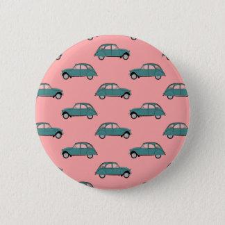 Badge Rond 5 Cm Citroen 2CVs - Vert sur le rose - voitures