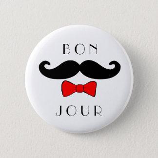Badge Rond 5 Cm Classique drôle de Bowtie de moustache de Bonjour