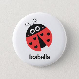Badge Rond 5 Cm Coccinelle rouge et noire mignonne avec des coeurs