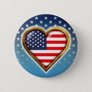 Badge Rond 5 Cm Coeur américain