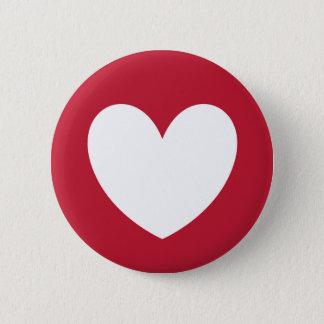 Badge Rond 5 Cm Coeur blanc sur le rouge
