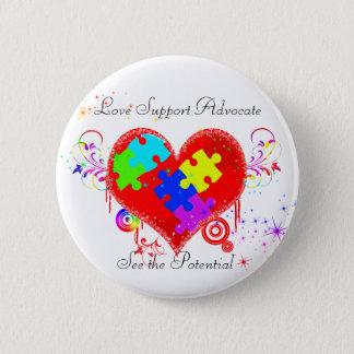 Badge Rond 5 Cm Coeur brillant d'autisme