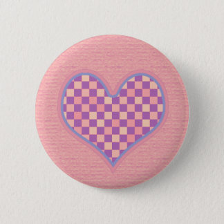 Badge Rond 5 Cm coeur checkered rose