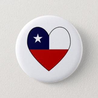 Badge Rond 5 Cm Coeur chilien Valentine de drapeau