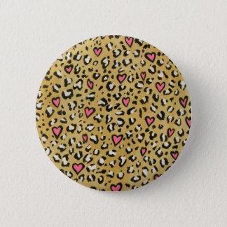 Badge Rond 5 Cm Coeur de coeur de léopard/de rose poster de animal