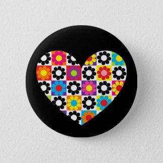 Badge Rond 5 Cm Coeur de flower power