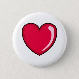 Badge Rond 5 Cm Coeur rouge