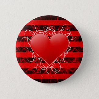 Badge Rond 5 Cm Coeur rouge d'emo punk gothique avec les rayures