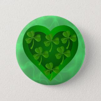 Badge Rond 5 Cm Coeur vert avec des shamrocks