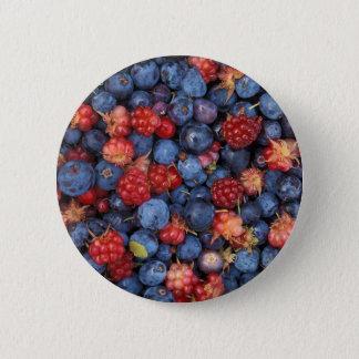 Badge Rond 5 Cm Collage des framboises sauvages de myrtilles de