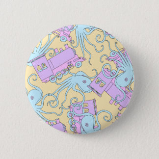 Badge Rond 5 Cm Collage original de poulpe/train