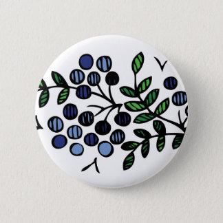 Badge Rond 5 Cm Conception de fleur de bouton de myrtille