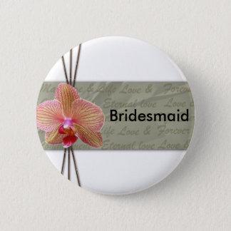 Badge Rond 5 Cm Conception élégante de mariage d'orchidée