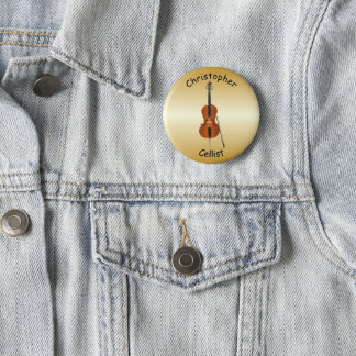 Badge Rond 5 Cm Conception personnalisée de violoncelle