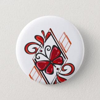 Badge Rond 5 Cm Conception rouge de papillon