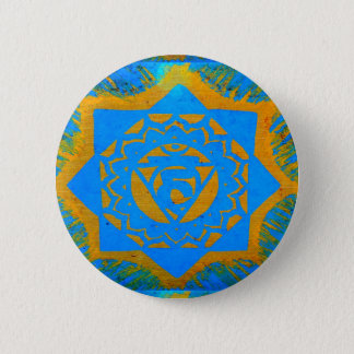 Badge Rond 5 Cm conception tibétaine d'or bleu