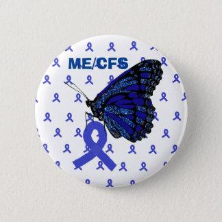 Badge Rond 5 Cm Conscience de ruban bleu et de papillon de ME/CFS