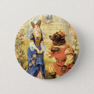 Badge Rond 5 Cm Conte de fées vintage, beauté et la bête