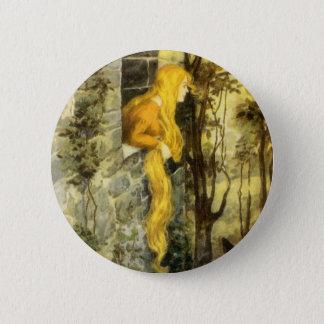Badge Rond 5 Cm Conte de fées vintage, Rapunzel avec de longs