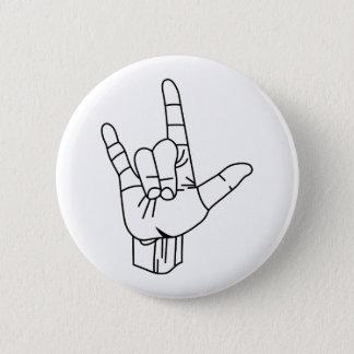 Badge Rond 5 Cm Contour de langue des signes