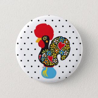 Badge Rond 5 Cm Coq célèbre de Barcelos Nr 06 - pois