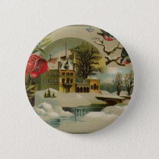 Badge Rond 5 Cm Cottage avec des roses