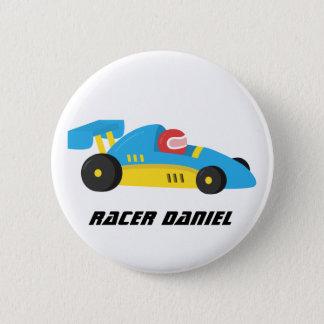 Badge Rond 5 Cm Coureur bleu mignon de voiture de course le petit