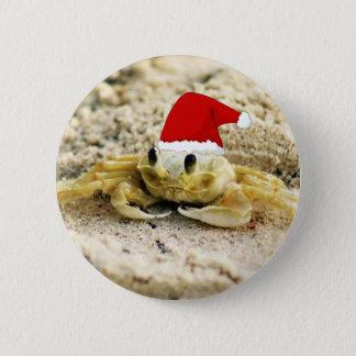 Badge Rond 5 Cm Crabe de sable dans Noël de casquette de Père Noël