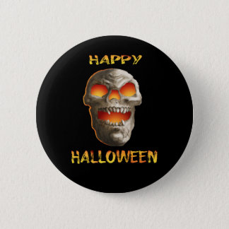 Badge Rond 5 Cm Crâne effrayant de Halloween de revers de noir