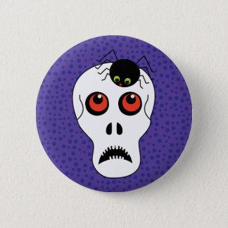 Badge Rond 5 Cm Crâne et araignée Halloween