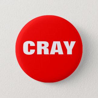 Badge Rond 5 Cm Cray en rouge et blanc