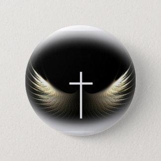 Badge Rond 5 Cm Croix chrétienne et Saint-Esprit