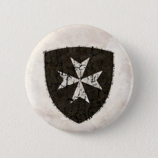 Badge Rond 5 Cm Croix de Hospitaller de chevaliers, affligée
