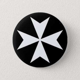 Badge Rond 5 Cm Croix maltaise blanche