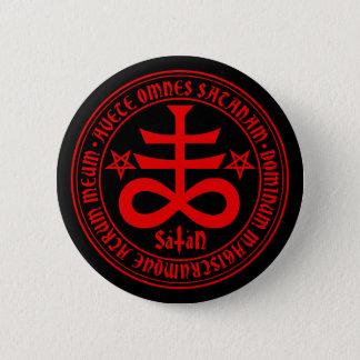 Badge Rond 5 Cm Croix satanique avec le texte et les pentagones