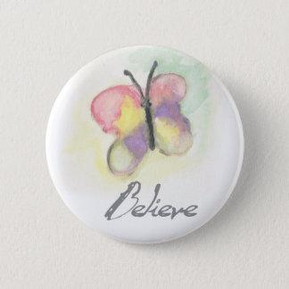 Badge Rond 5 Cm Croyez le bouton inspiré de papillon