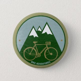 Badge Rond 5 Cm cyclistes aventure, montagnes