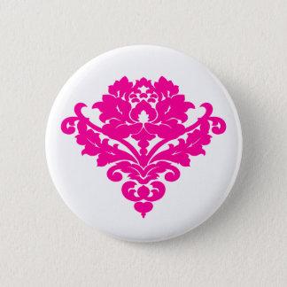 Badge Rond 5 Cm Damassé fuchsia élégante sur le blanc