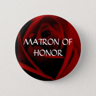 Badge Rond 5 Cm DAME DE HONNEUR - bouton de rose d'écarlate