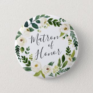 Badge Rond 5 Cm Dame de honneur florale de guirlande d'albâtre