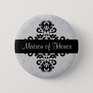 Badge Rond 5 Cm Dame de honneur noire et grise de damassé de