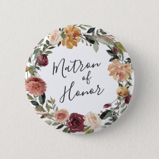 Badge Rond 5 Cm Dame de honneur rustique de fleur