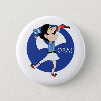 Badge Rond 5 Cm Danse d'Evzone de Grec avec le drapeau OPA !