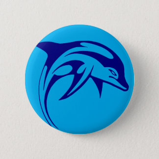 Badge Rond 5 Cm Dauphin bleu