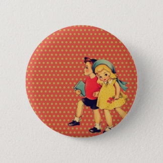 Badge Rond 5 Cm de nouveau à de rétros enfants de cru de kitsch de