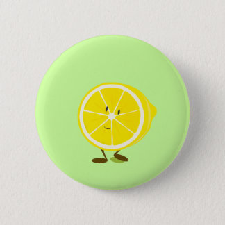 Badge Rond 5 Cm Demi de caractère de sourire de citron