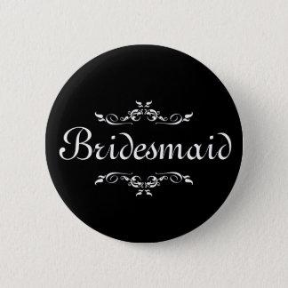 Badge Rond 5 Cm Demoiselle d'honneur florale noire et blanche de